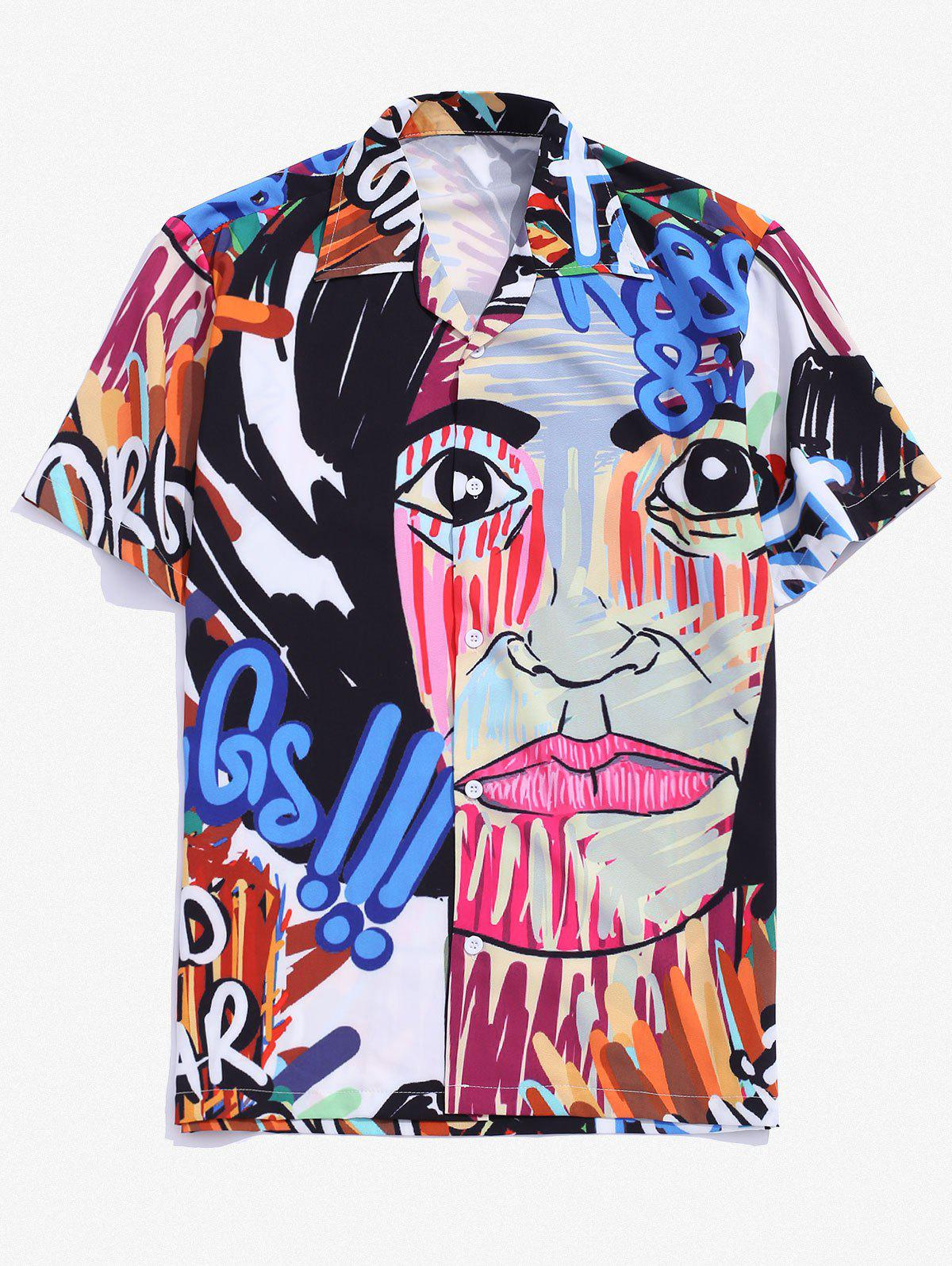 Fashion Graffiti Graphic Print Camp Collar Shirt