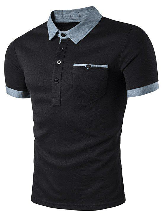 Outfit Contrast Patch Pocket Turn-down Collar T-shirt