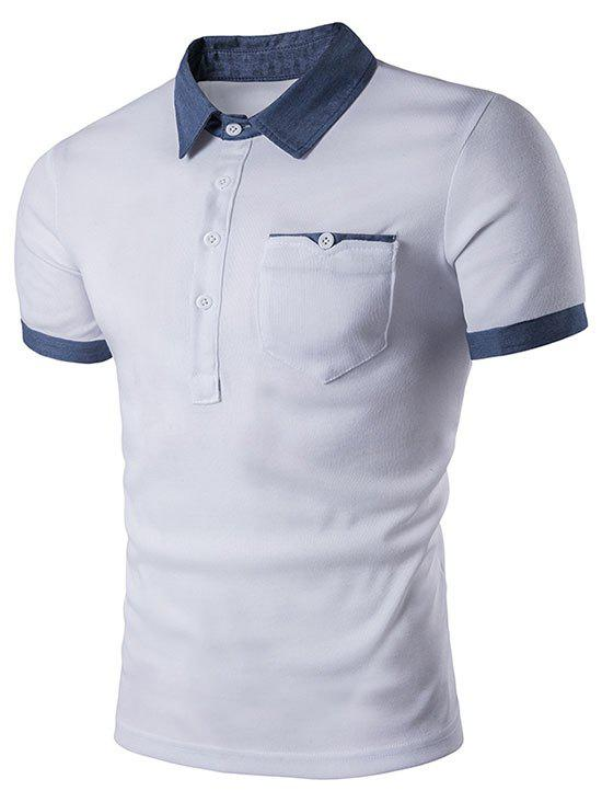 Trendy Contrast Patch Pocket Turn-down Collar T-shirt