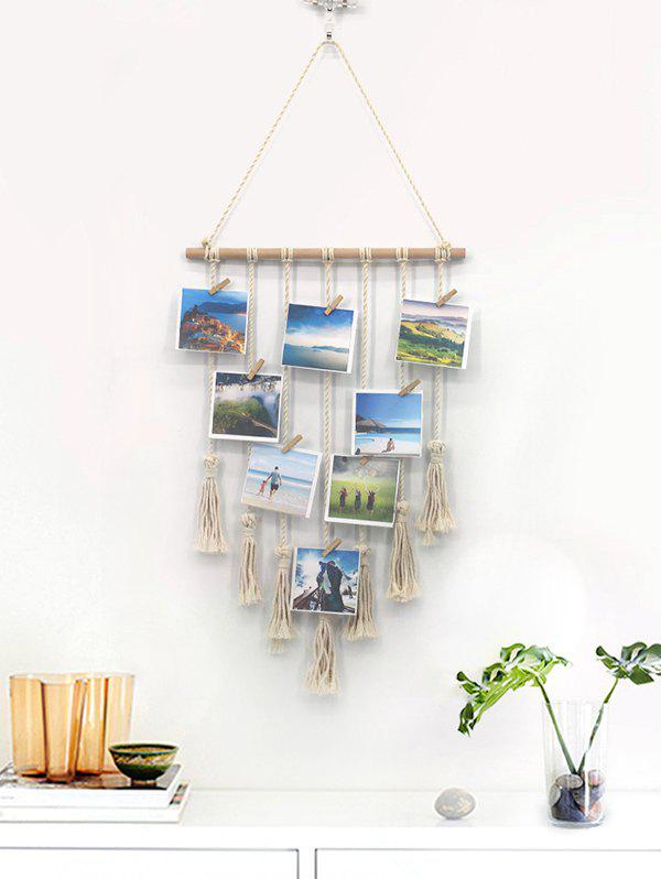 Hot Home Decor Tasseled Macrame Wall Hanging Photo Holder with Clips