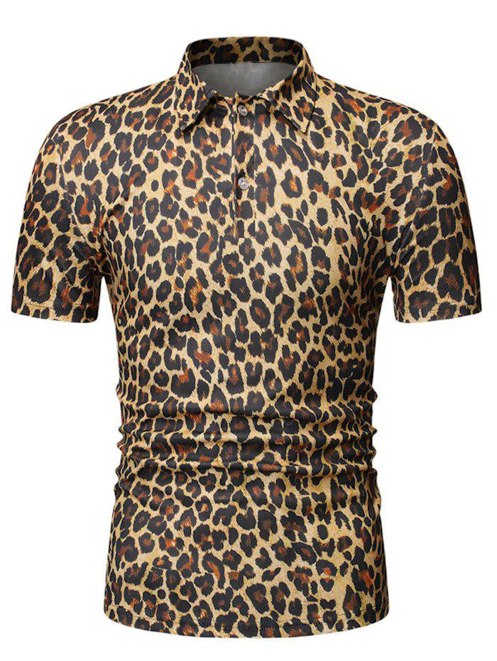 Shops Leopard Print Turn Down Collar T-shirt