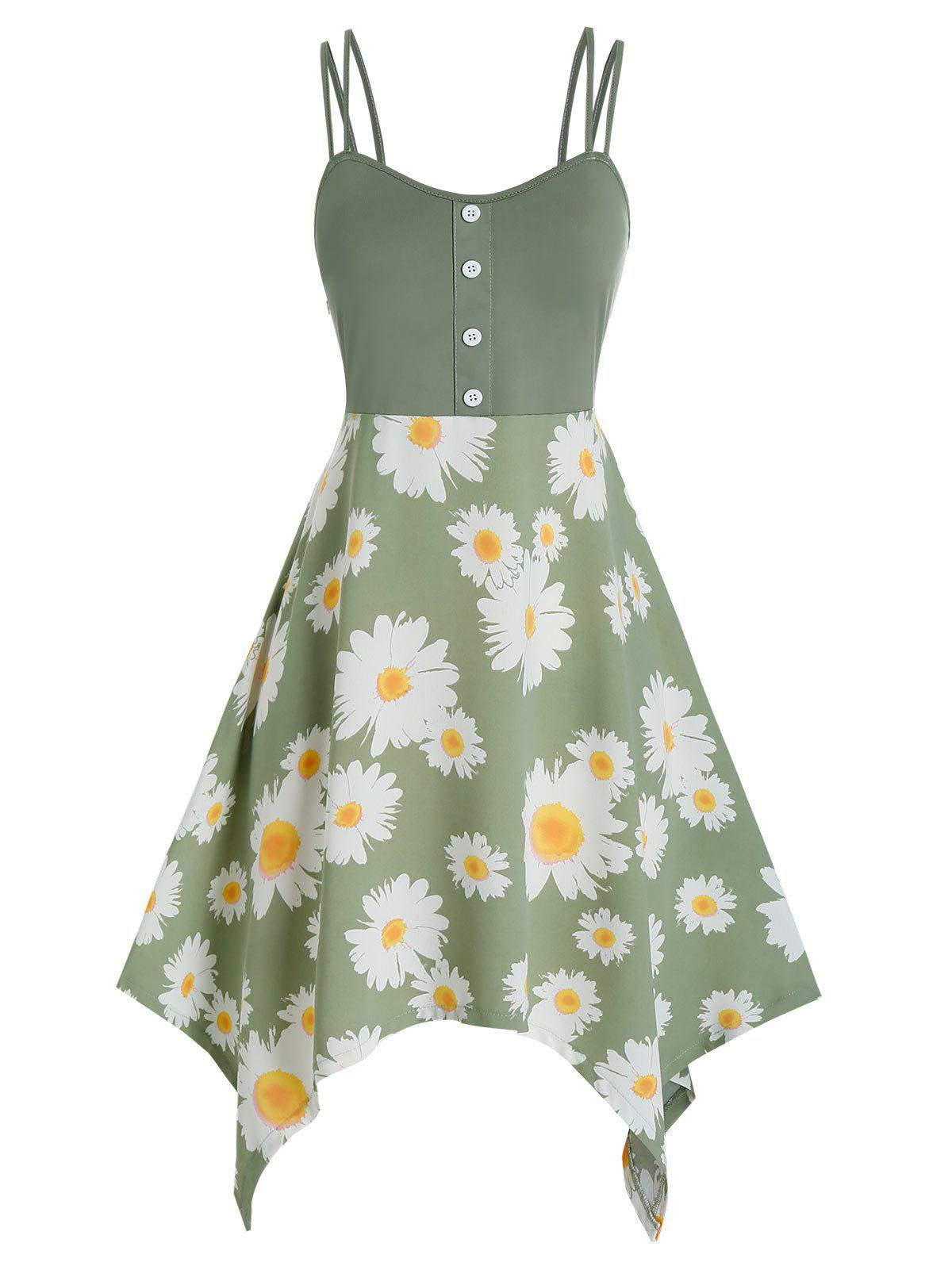 Buy Plus Size Daisy Flower Hanky Hem Dual Strap Dress