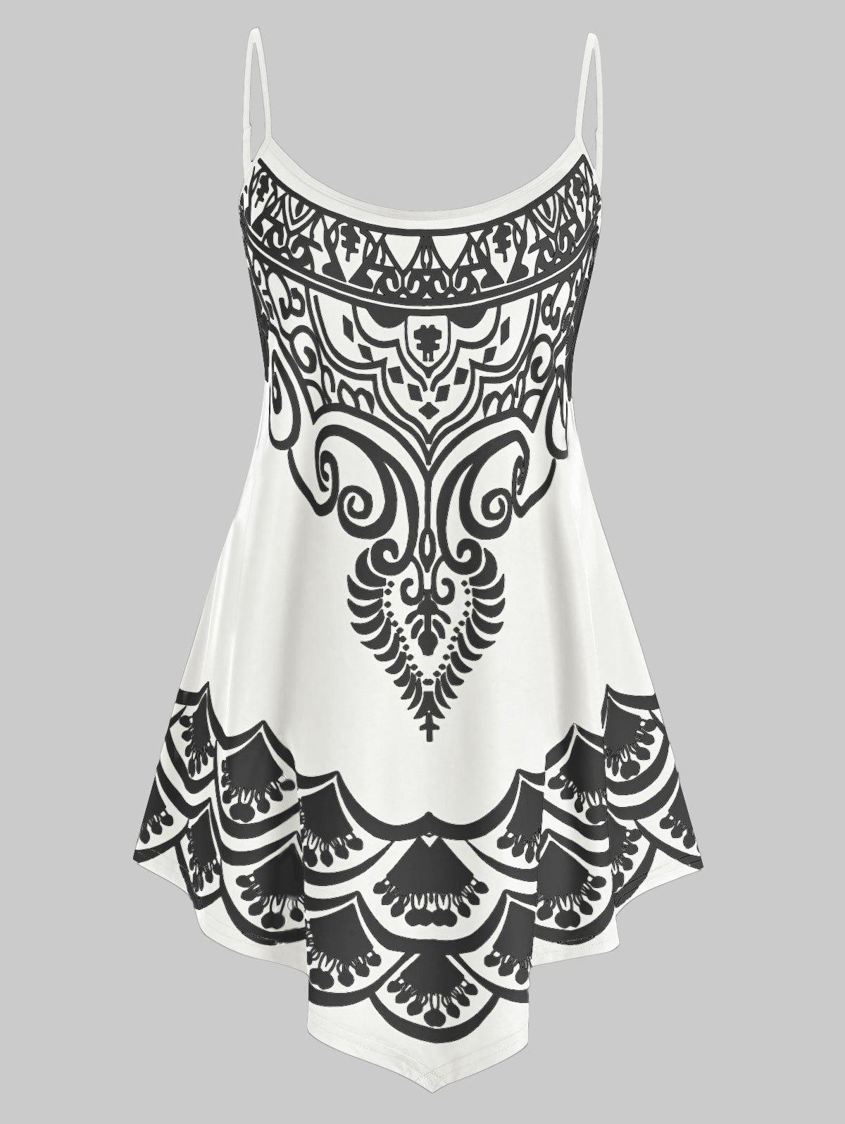 Hot Plus Size Backless Print Asymmetric Tunic Cami Top