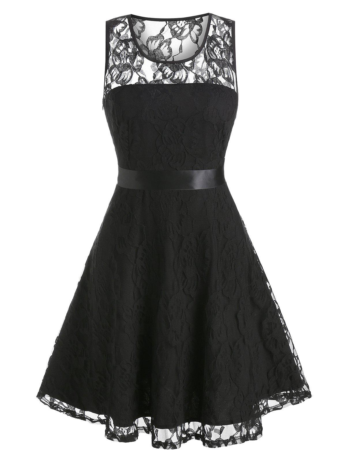 Unique Flower Lace A Line Party Dress