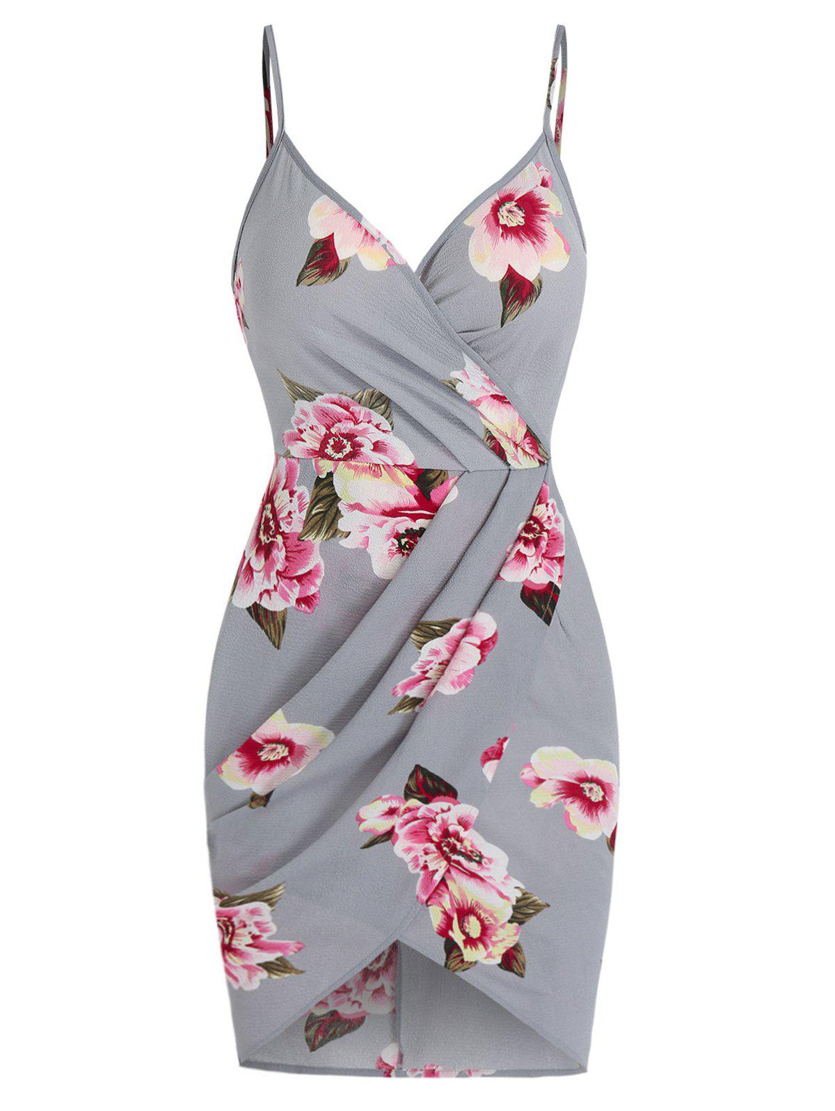 Chic Flower Print Spaghetti Strap Ruched Tulip Dress