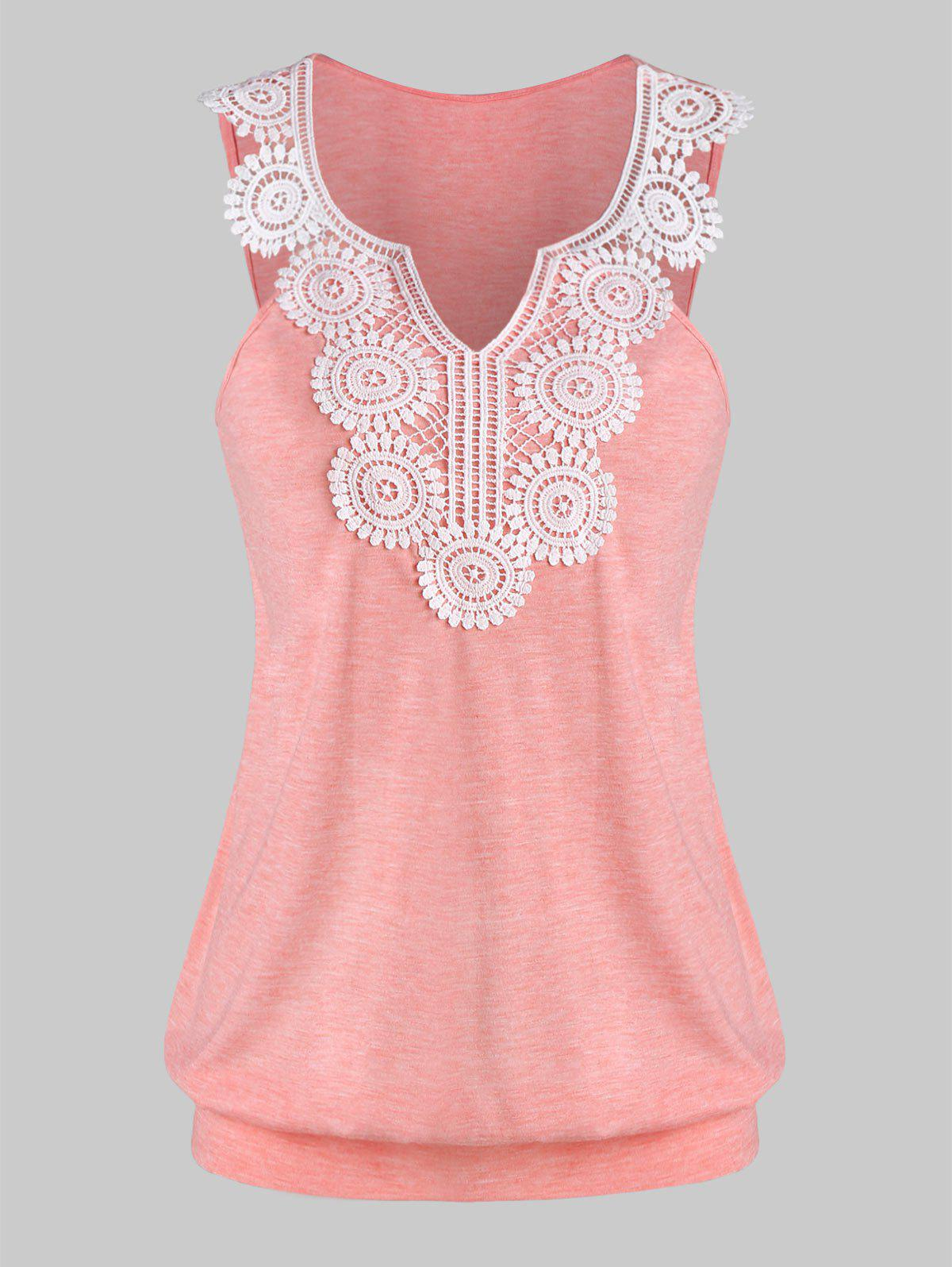 Fashion Women Casual Lace Panel Vest for Men Sleeveless Asymmetrical Cami Top O Neck Feather Print Tank Top