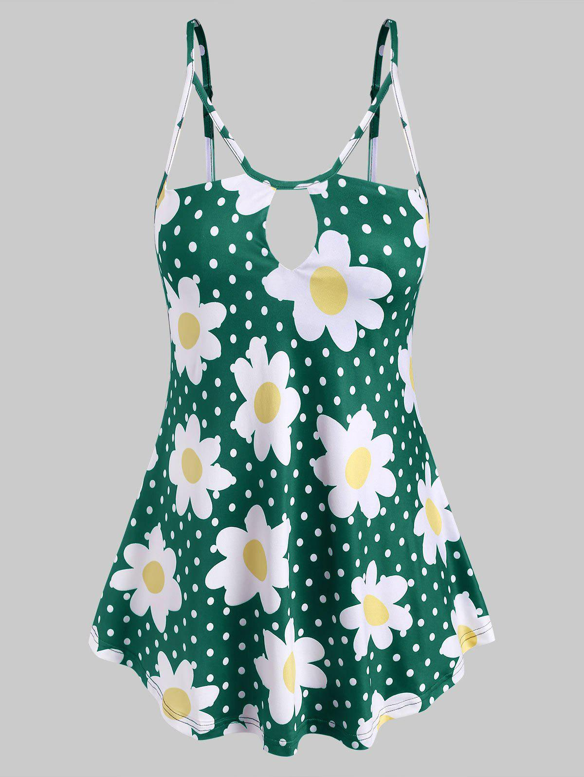 Shop Keyhole Strappy Daisy Dotted Plus Size Cami Top