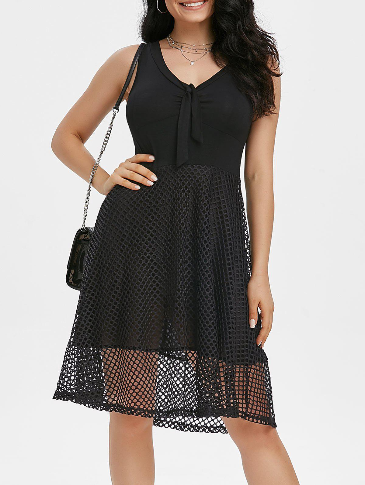 Unique V Neck Knot Fishnet Overlay A Line Dress