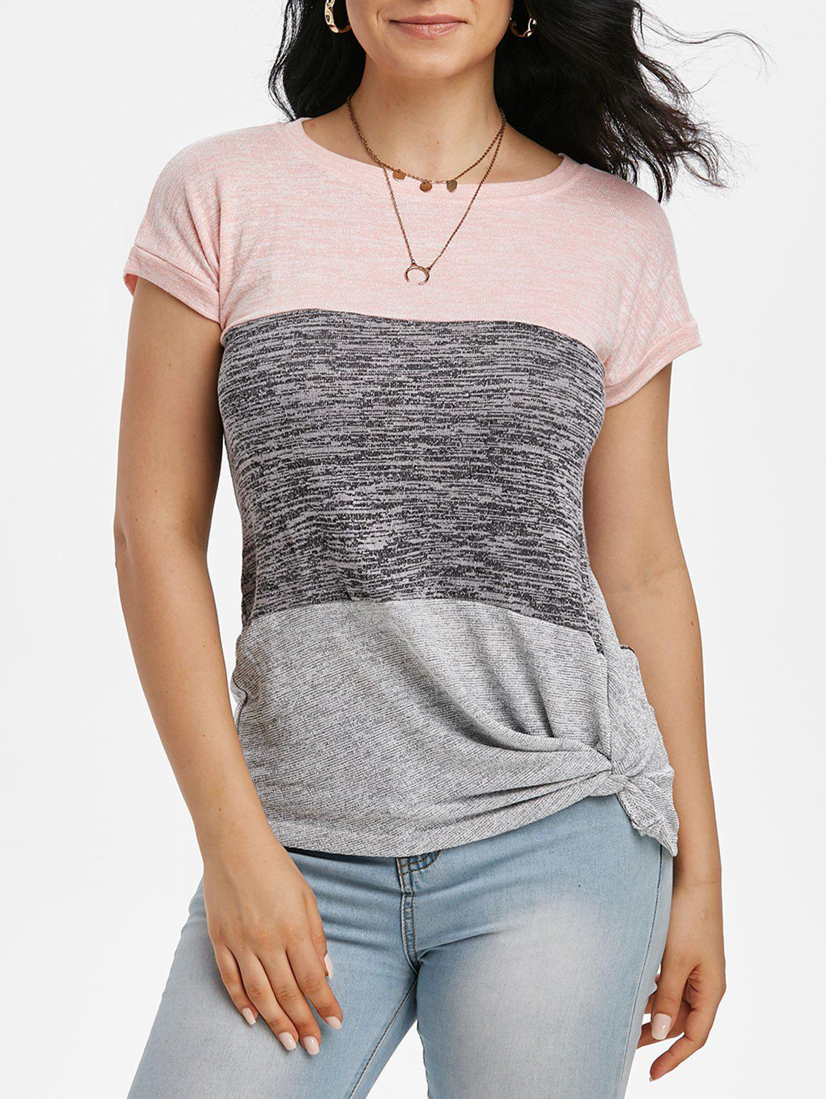Online Batwing Sleeve Colorblock Twisted T-shirt