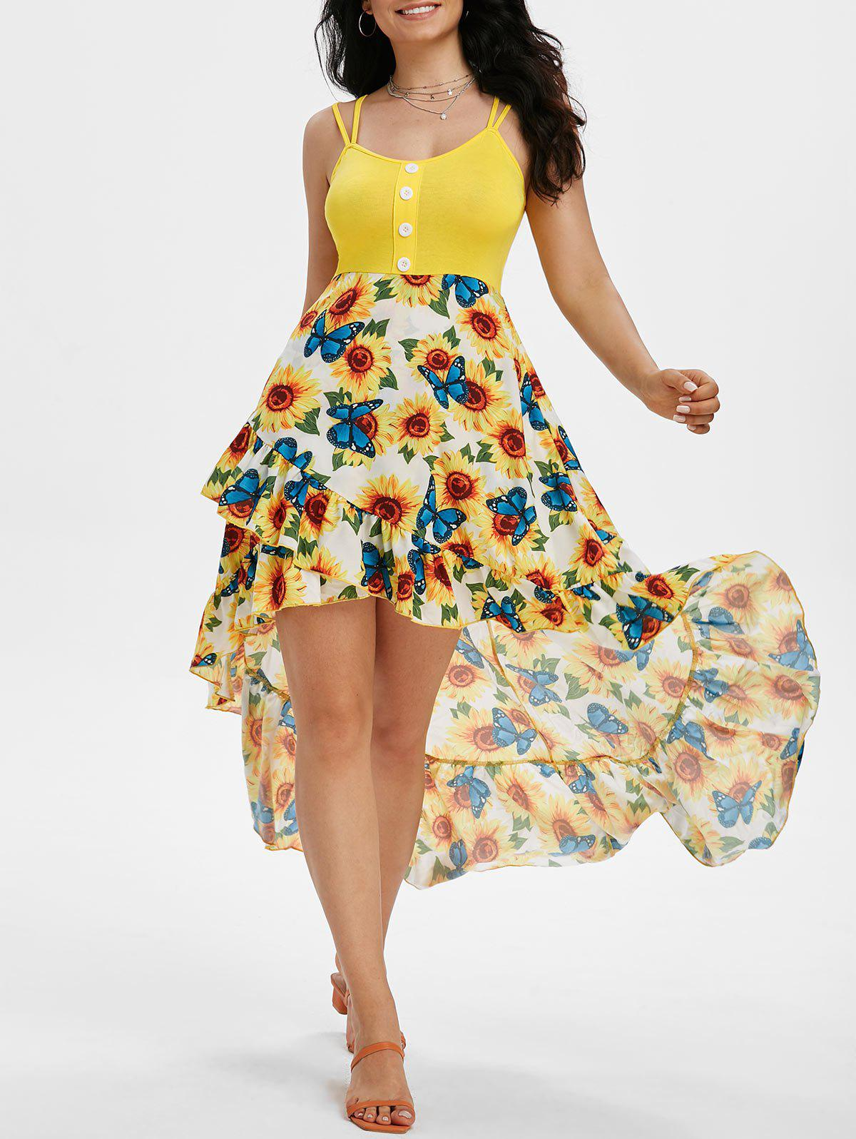Cheap Flounce Sunflower Angel Scale Print Mermaid High Low Cami Dress
