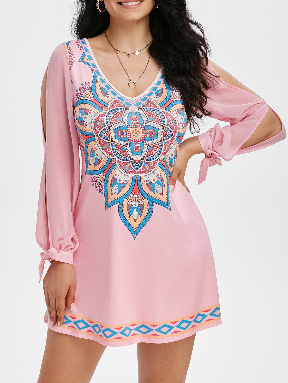 Online Tribal Print V Neck Knotted Split Sleeve Dress