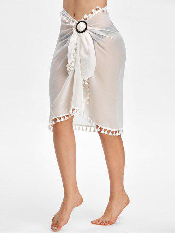 Tassel Sheer Wrap Cover Up Sarong Skirt - WHITE - ONE SIZE