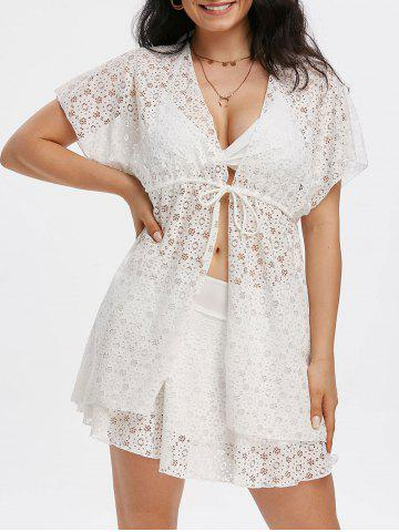 3 Piece Lace Swimsuit Bra Skirt and Cover Up - WHITE - M