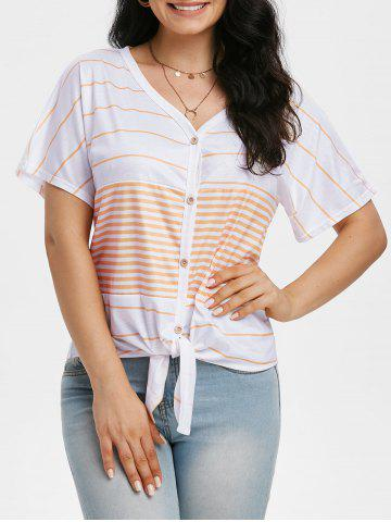 Striped V Neck Knotted Raglan Sleeve Tee
