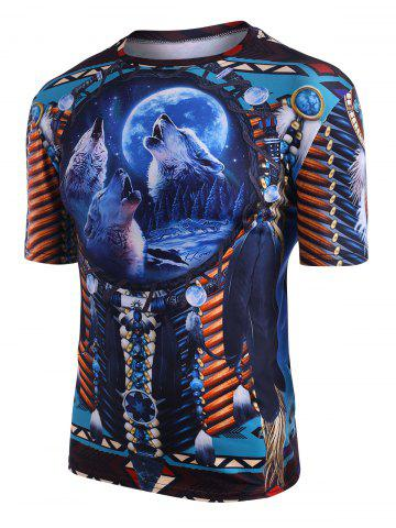 Indian Wolf Print Crew Neck Casual T Shirt - MULTI - M