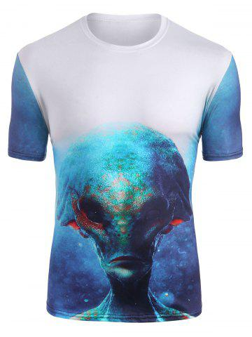 Abstract Alien Graphic Crew Neck Casual T Shirt - MULTI - XL