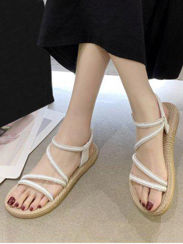 Open Toe Rhinestone Ankle Strap Flat Sandals - WHITE - EU 40