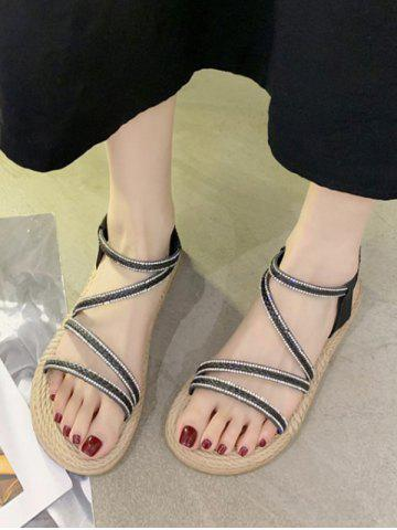 Open Toe Rhinestone Ankle Strap Flat Sandals - BLACK - EU 40