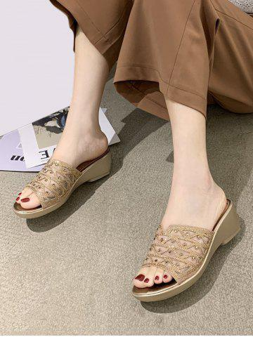 Mesh Geometric Rhinestone Wedge Slides Sandals - GOLDEN - EU 39