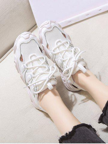 Patchwork Mesh Lace Up Sports Sandals - BEIGE - EU 39