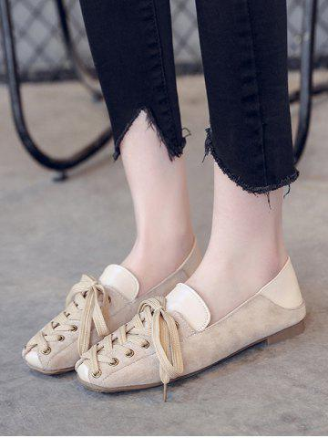 Leisure Lace Up Patchwork Flat Shoes