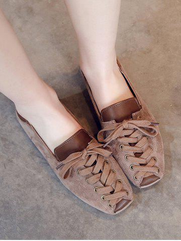 Leisure Lace Up Patchwork Flat Shoes - BROWN - EU 40