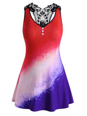 Mock Buttons Galaxy Printed Lace Panel Plus Size Tank Top