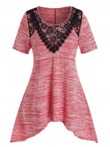 Plus Size Asymmetrical Space Dye Lace Panel Tunic Tee - BEAN RED - 1X