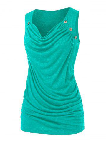 Plus Size Draped Ruched Mock Button Tank Top - SEAWEED GREEN - L
