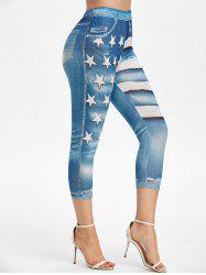 Patriotic American Flag High Rise Capri Jeggings -