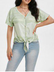 Striped V Neck Knotted Raglan Sleeve Tee -