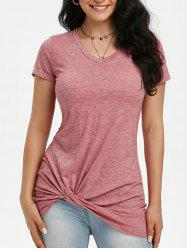 Twisted Rolled Cuff V Neck T-shirt -