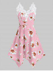 Flower Print Lace Insert Sleeveless Handkerchief Dress -