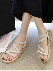 Open Toe Rhinestone Ankle Strap Flat Sandals -