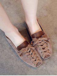 Leisure Lace Up Patchwork Flat Shoes -