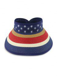 Star And Striped Foldable Visor Straw Hat -