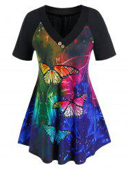 Plus Size Butterfly Pattern Tunic T-shirt -