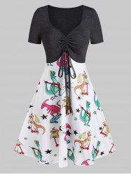 Plunging Neck Dinosaur Print Drawstring Mini A Line Dress -