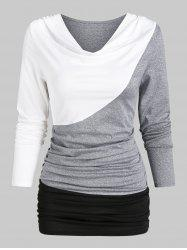 Contrast Long Sleeve Ruched T-shirt -