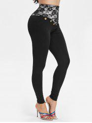 Mock Button Lace Panel Skinny Leggings -