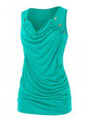 Plus Size Draped Ruched Mock Button Tank Top -