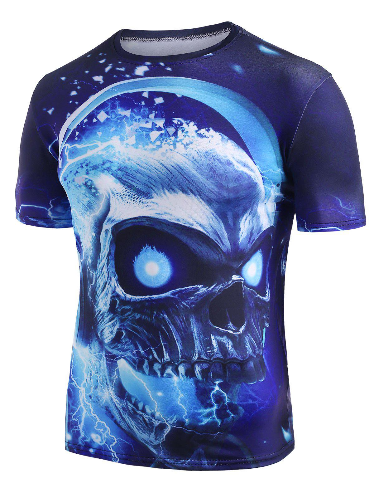 Sale Skull With Headphone Graphic Crew Neck Casual T Shirt