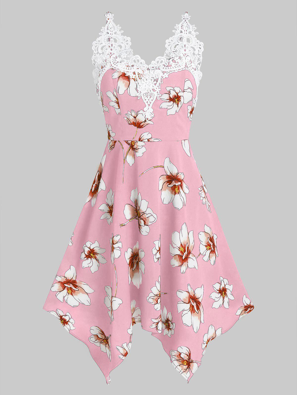 Online Flower Print Lace Insert Sleeveless Handkerchief Dress