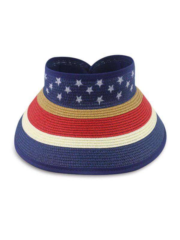 Fashion Star And Striped Foldable Visor Straw Hat