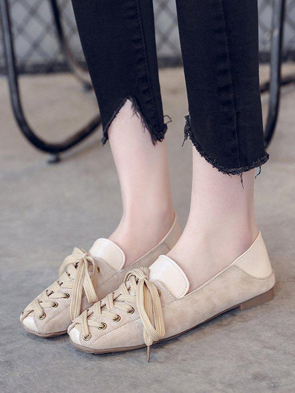 Outfit Leisure Lace Up Patchwork Flat Shoes