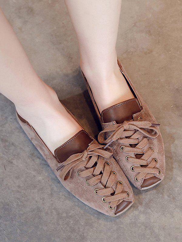 Trendy Leisure Lace Up Patchwork Flat Shoes