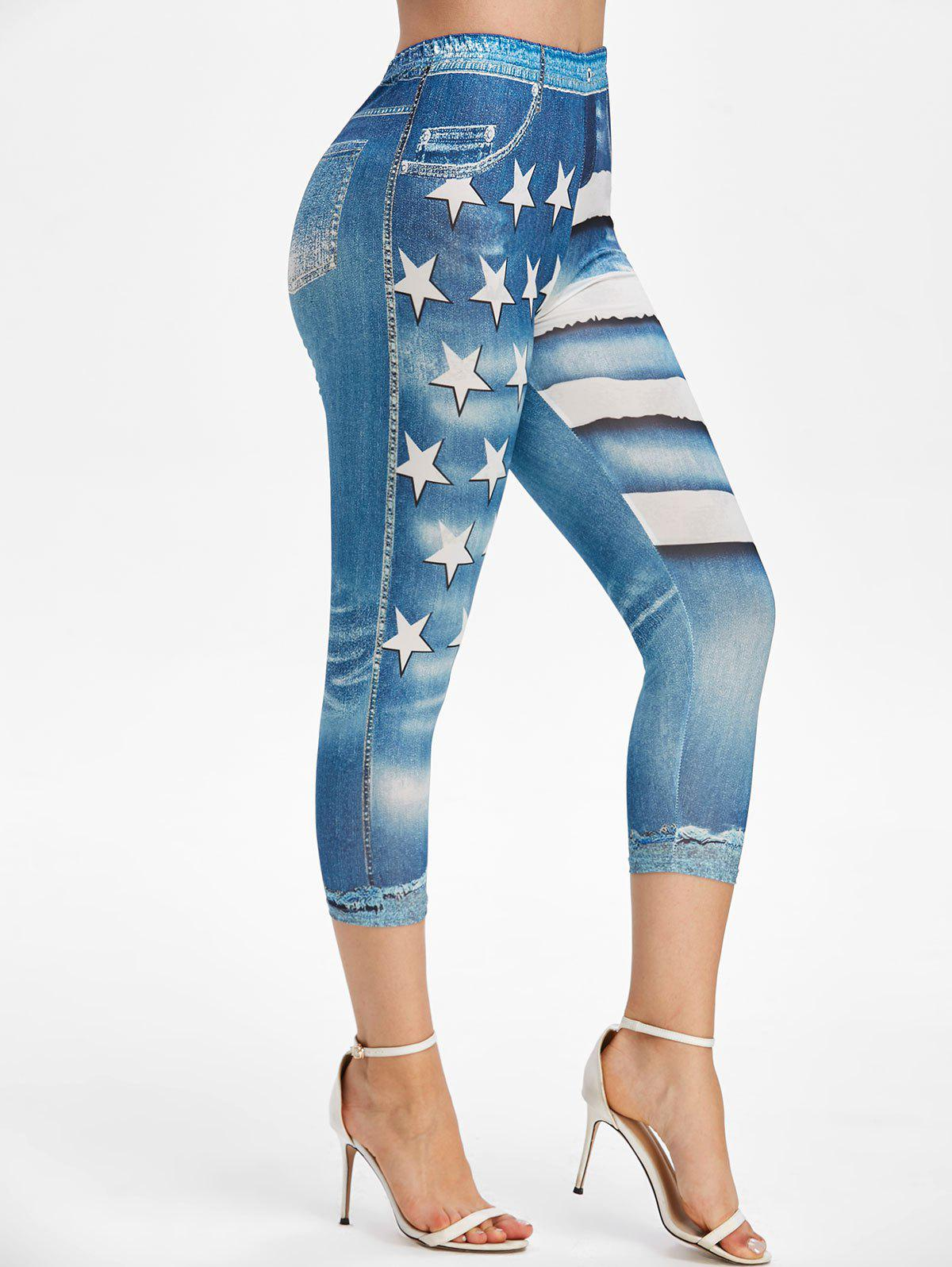 Online Patriotic American Flag High Rise Capri Jeggings