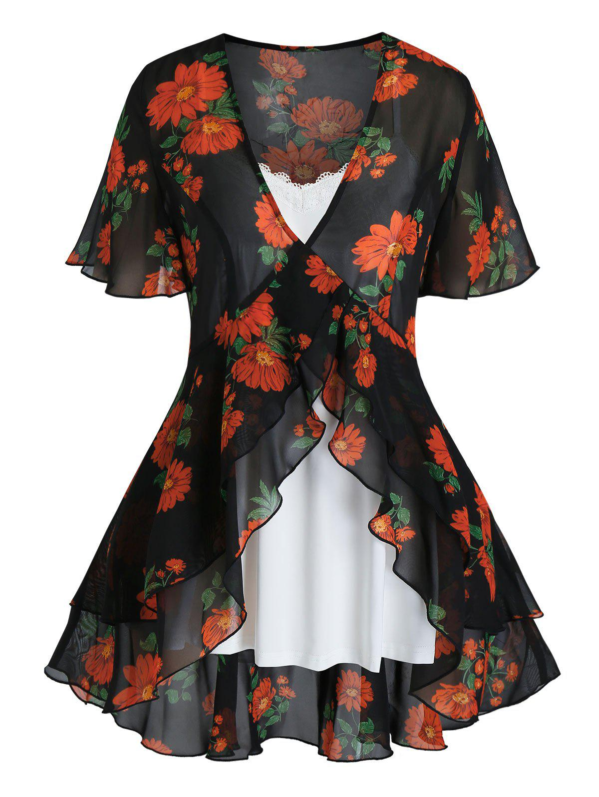 Buy Plus Size Flower Print Flounce Blouse and Cami Top Set