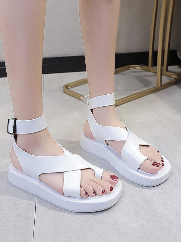 Store Toe Loop Cross Ankle Strap Platform Sandals