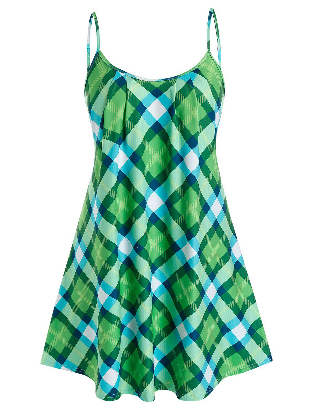 Shops Plus Size Plaid Adjusted Strap Backless Tunic Cami Top